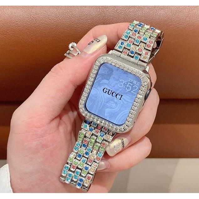 สาย applewatch + เคส รูปสี่เหลี่ยมขนมเปียกปูน สาย applewatch Bling Diamonds Straps for Apple watch Series 1/2/3/4/5/6 , Apple Watch SE, สายนาฬิกา applewatch Case size 38mm 40mm 42mm 44mm Watch band