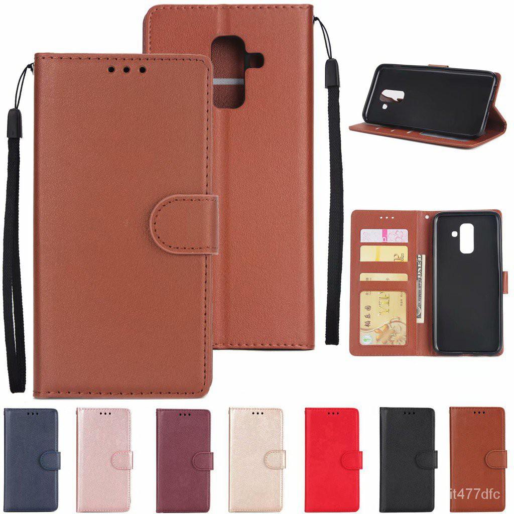 เคส Case Samsung Galaxy J4 J6 J7 J8 A5 A7 A8 A6 Plus A9 J2 Pro 2018 Leather Case เคสฝาพับ เคสหนัง เคสสำหรับ กรณีโทรศัพท์