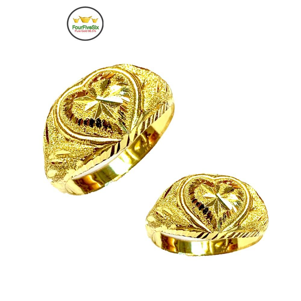 Flash Sale แหวนทองครึ่งสลึง หัวใจโป่ง หนัก 1.9 กรัม ทองคำแท้96.5%