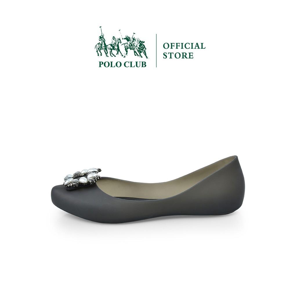 POLO CLUB  รองเท้าคัชชู ยาง หัวแหลม ส้นแบน  สีดำ รุ่น P1854