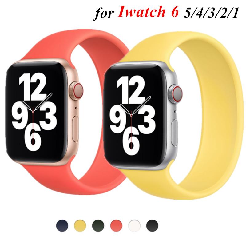 Candy Color Elastic Fitness สายนาฬิกาข้อมือ สำหรับ Apple Watch Series2 3 4 5 6 SE Silicone Elastic Loop Strap Soft Leisur ขนาด 38mm 40mm 42mm 44mm มม. starp band ระหว่าง วงดนตรี