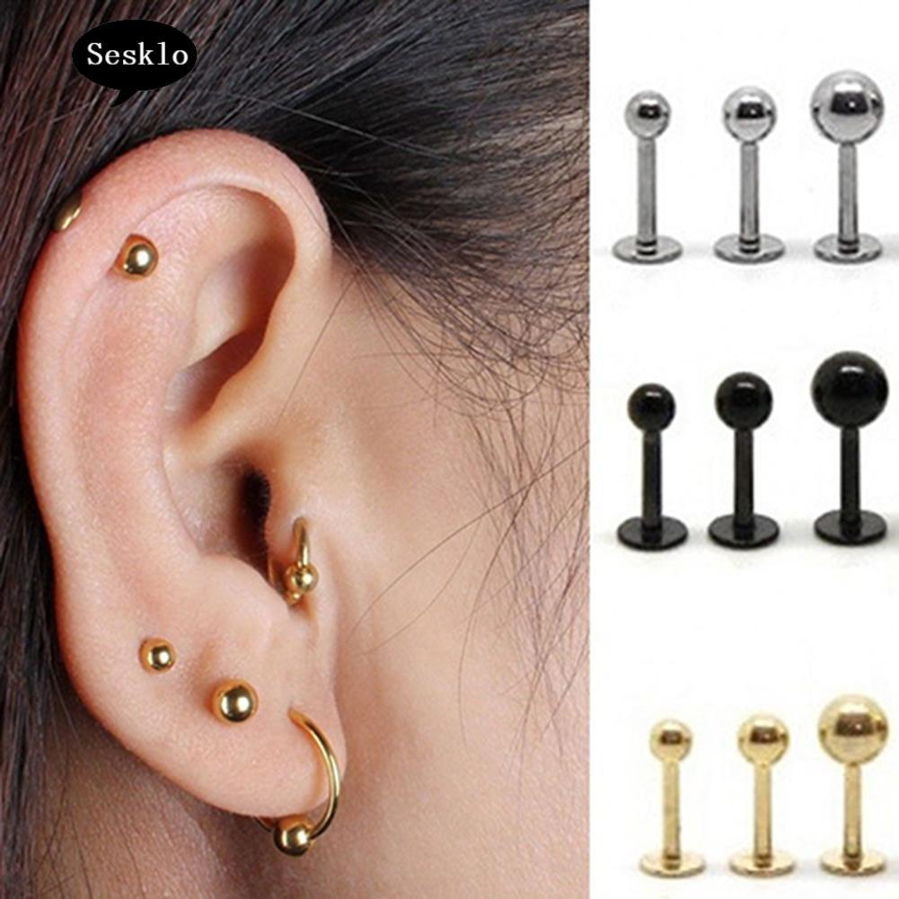 Bar Body Piercing Jewelry Tragus Earrings Ear Studs Rhinestone Cartilage Helix