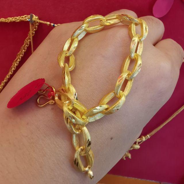  สร้อยมือทอง 96.5%  น้ำหนัก 2 สลึง ยาว 18-19cm ราคา 14,550บาท