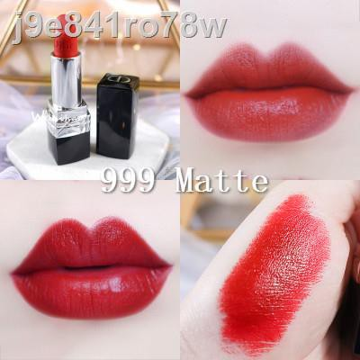 【ลดราคา】◐♙Dior Lip Glow Rouge Matte Lipstick Couture Color Comfort and Wear Lipstick, 999 ดออร์ลิป