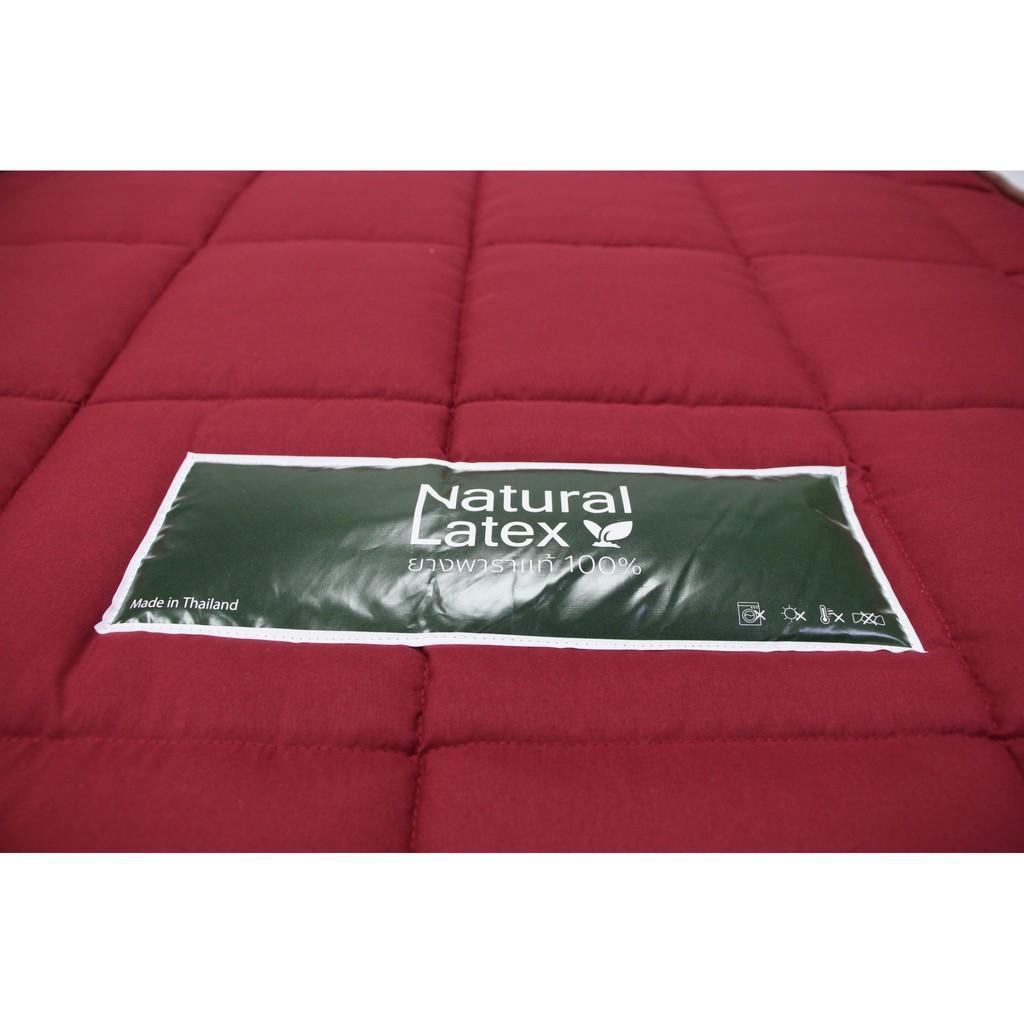 topper 5 ฟุต ที่นอน topper ที่นอนยางพาราอัด ขนาด 3.5 ฟุต มาพร้อมปลอกหุ้มผ้าสีพื้นสีแดง ขอบคิ้ว แถมฟรีหมอน Travy หุ้มปลอก
