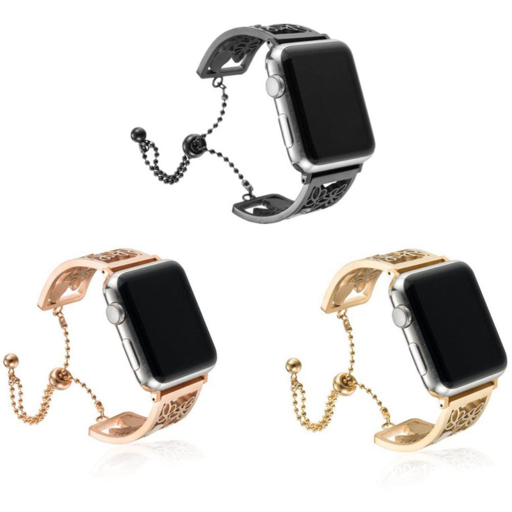 AppleWatch เหมาะสำหรับนาฬิกาสมาร์ทวอทช์หนึ่ง, สองและสามรุ่นของสายรัดข้อมือโซ่สแตนเลสสลักกลวง