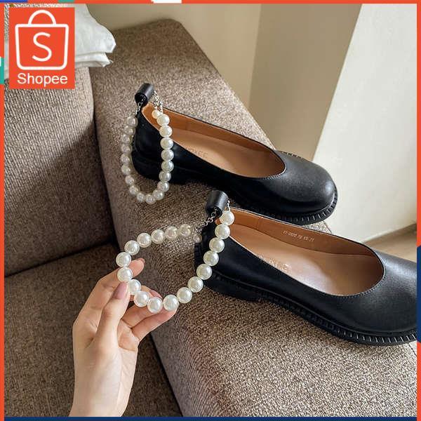 รองเท้าคัชชู ใส่สบาย สำหรับผู้หญิง รุ่นสีเรียบใส่ทำงาน 2021 ฤดูร้อนใหม่เวอร์ชั่นเกาหลีของสีดำหนาด้วยปากตื้นป่ารองเท้าใหญ