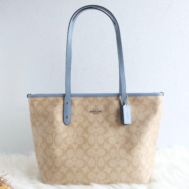 Coach F58292 tote zip bag กระเป๋าสะพายข้าง สีน้ำตาล-ฟ้า