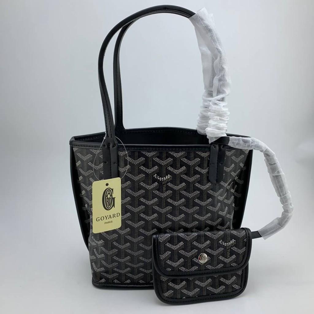 GOYARD MINI ANJOU TOTE LEATHER AND GOYARDINE CANVAS BAG กระเป๋าถือผู้หญิง แบรนด์เนม กอยาร์ด ลายโลโก้โมโนแกรม แฟชั่น