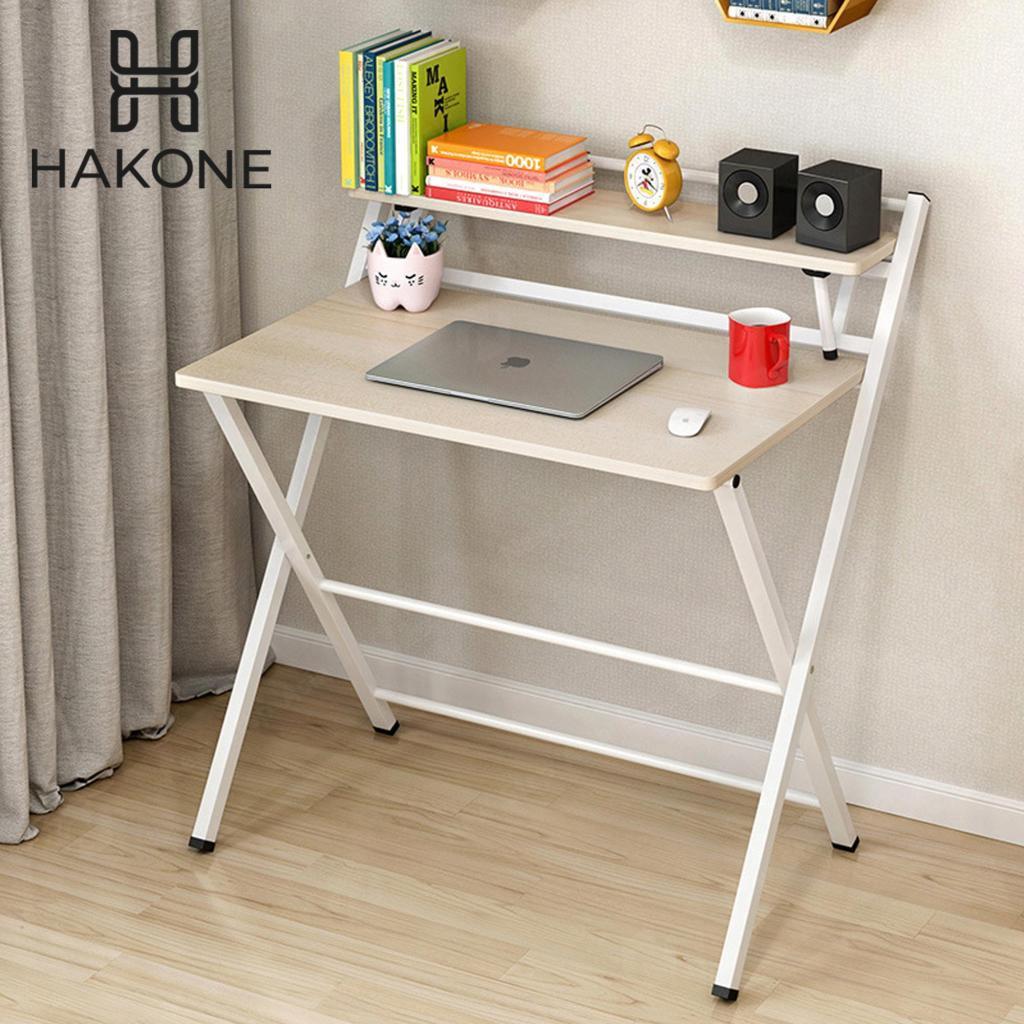 HAKONE  โต๊ะคอมพับได้ พร้อมชั้นวางของ สีบีช โครงเหล็กขาว หน้าโต๊ะ 80x50 cm โต๊ะวางโน๊ตบุ๊ค โต๊ะวางคอมพิวเตอร์ โต๊ะข้างเต