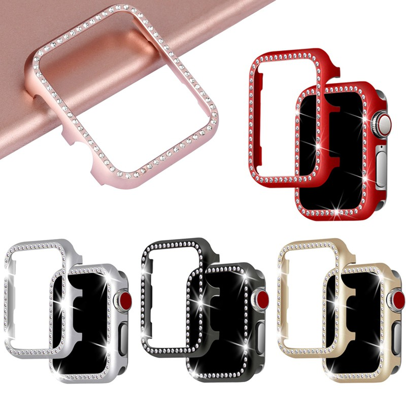 กรณีป้องกัน Apple Watch Case 38 มม. 40 มม. 42 มม. 44 มม. Luxury Crystal Bead Watch Case iWatch Series 6 SE 5 4 3 2 1