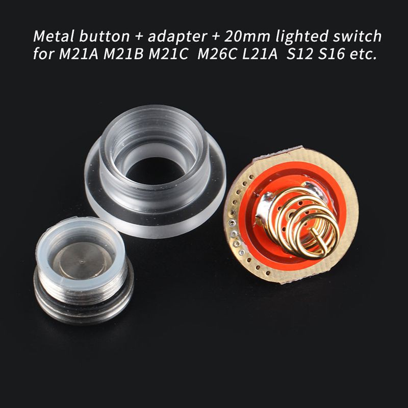 Stainless Steel Button Luminous Switch 20mm Suitable For Convoy M21A M21B M21C M26C L21A S12 S16 Flashlight