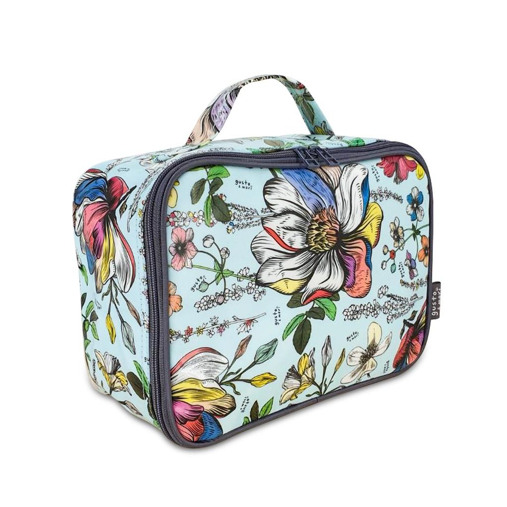 gusto&mori กระเป๋าจัดระเบียบขนาดกลาง สำหรับใส่ในกระเป๋าเดินทาง ลาย Blue Blossom 9z37