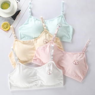 4 Pcs/Lot Young Girl Training Bras Soft Cotton Kids Underwears Cute Cat Bra For Girls 8-16Y Padded Brassiere Children's