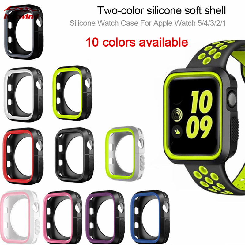 HW Watch Case For Apple Watch 44mm 40mm 42mm 38mm Silicone Protector Cover For Apple watch series 5 4 3 2 1