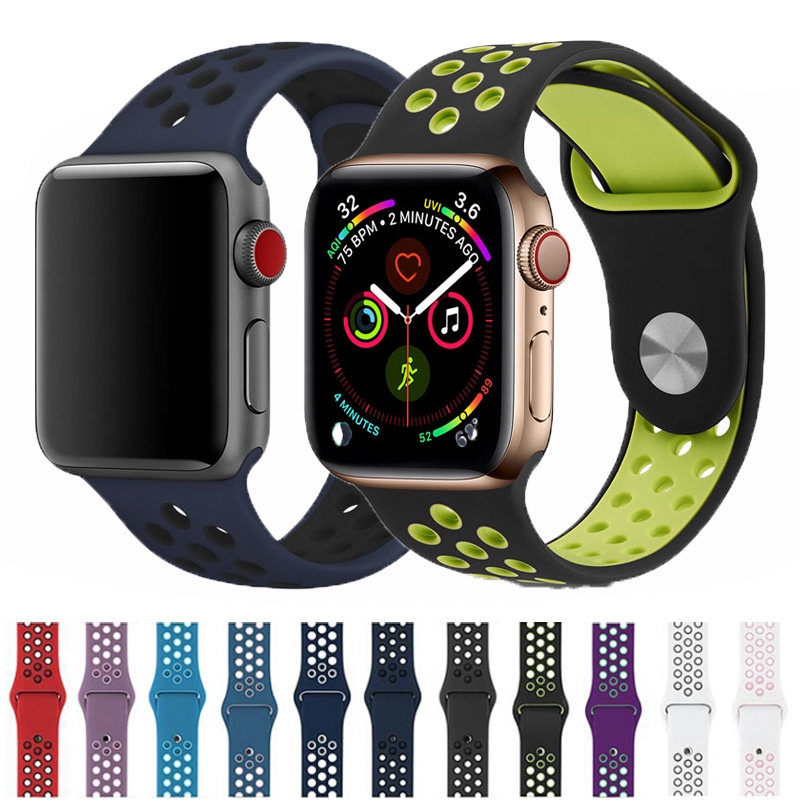 Soft Silicone Strap Apple Watch 38mm 40mm 42mm 44mm Band Series 5 4 3 2 1 iWatch 38 40 42 44 mm Man Breathable Two-color band