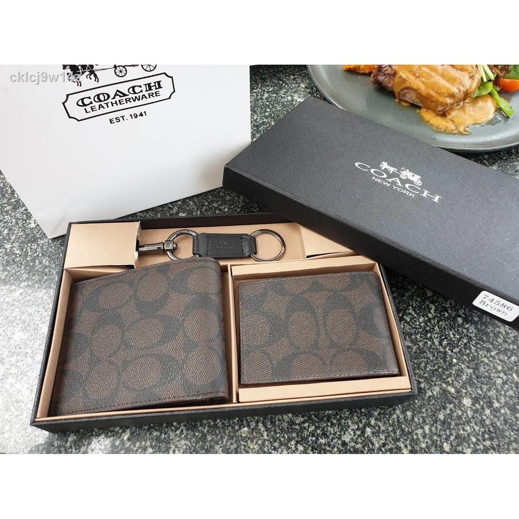 ✿✓COACH FACTORY SHORT WALLET WITH CARD POCKET & KEY CHAIN  ซื้อ 1 ได้ถึง 3 !! Box Set ชุดกระเป๋าสตางค์ใบสั้นและกระเป๋าใ