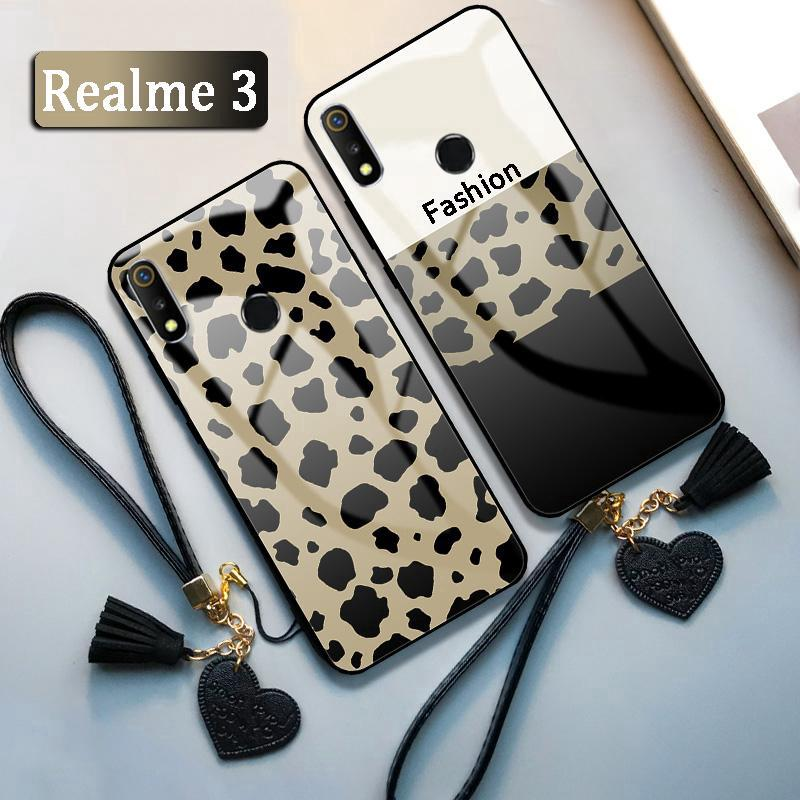 Review Realme 3 Realme 3 Pro Realme 2 Pro Realme C1 Casing + Lanyard Leopard Print Color Matching Case
