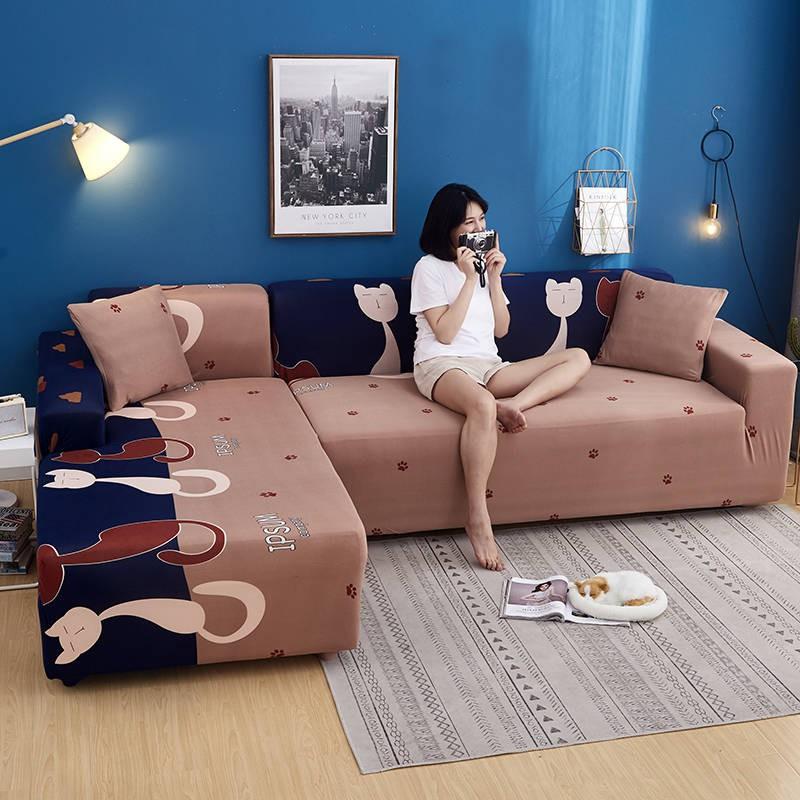 シ ผ้าคลุมโซฟา シ ♩Chaise Four Seasons ผ้าคลุมโซฟาสากลผ้าคลุมโซฟารูปตัว L ผ้ายืดรวมทุกอย่างผ้าคลุมสากลสุทธิสีแดงวรรคเดียวกัน❂
