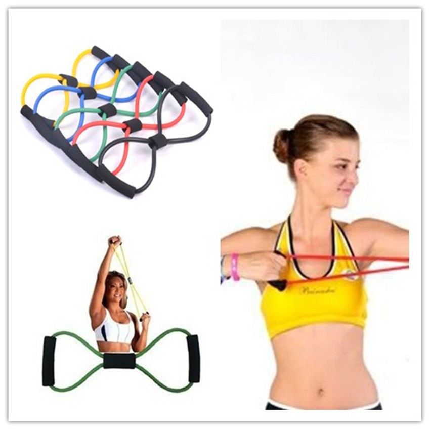 สายยางยืดสำหรับออกกำลังกาย  Figure 8 Resistance Bandสายยืดเลข8 แรงต้าน เพิ่มกล้ามเนื้อ เพาะกาย เล่นกล้าม