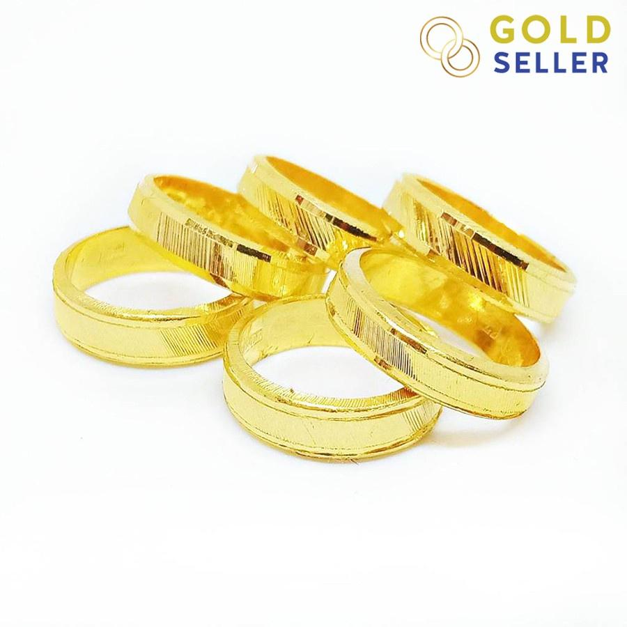 👍✅💯□Goldseller แหวนทอง ลายเหลี่ยมรุ้ง ครึ่งสลึง ทองคำแท้ 96.5%