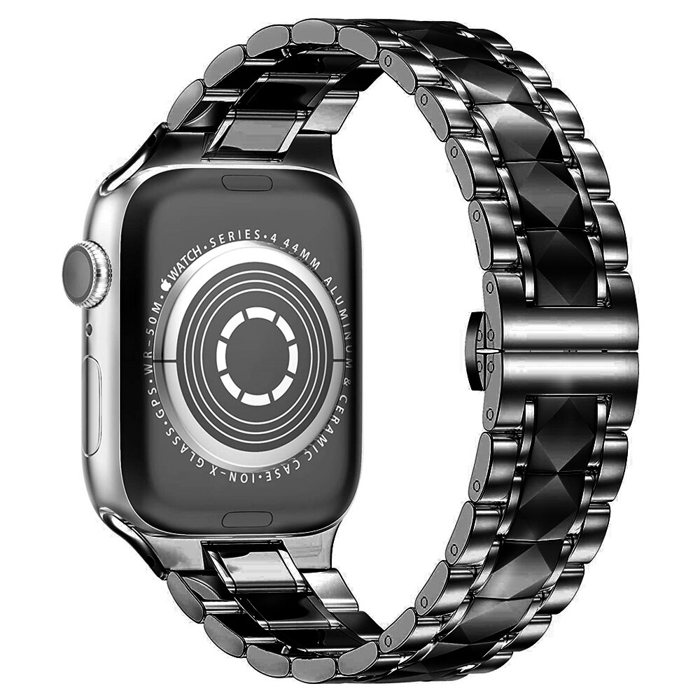 Luxury Tungsten Steel Strap For Apple Watch 44mm 40mm 42mm 38mm Band For iWatch Series SE 6 5 4 3 2 Stainless Steel Metal Bracelet Watchband