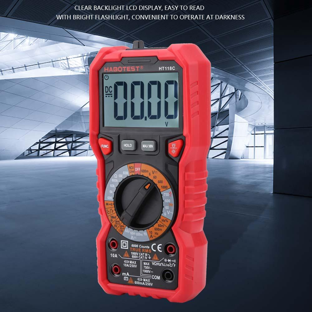 HT 118 C 6000 Counts Backlight LCD Digital Multimeter With High Voltage Prompt