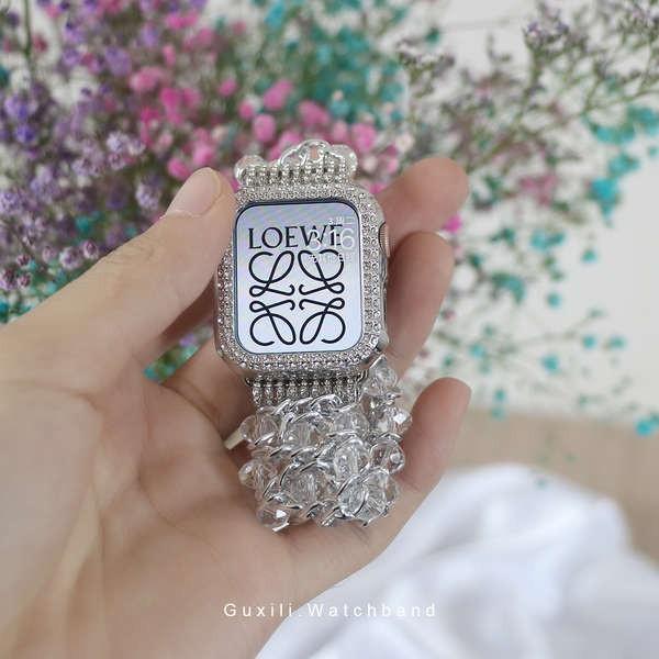 สาย applewatch ใช้ได้กับ iwatch6 / se สร้อยข้อมือน้ำหอมขนาดเล็กประดับเพชรสร้างสรรค์ applewatch4 / 5 แสดงถึงผู้หญิงอินเทร