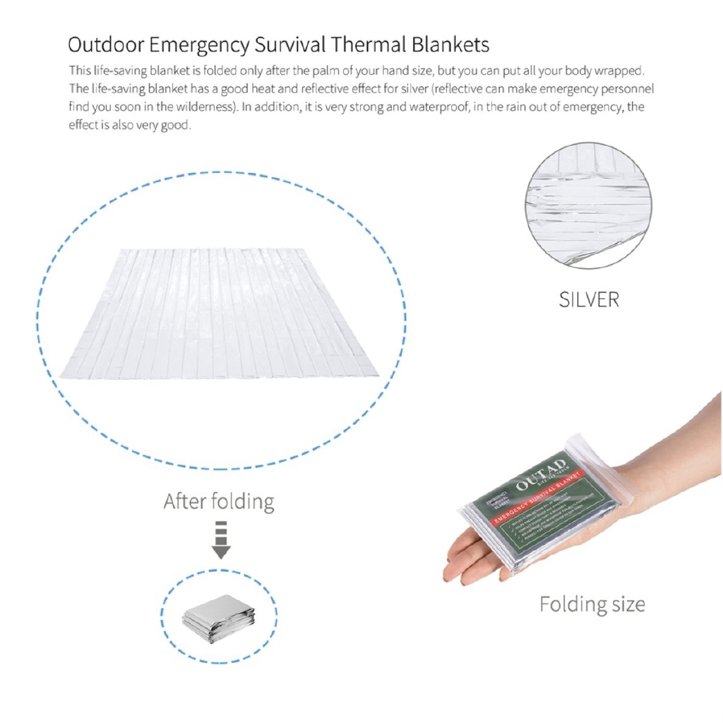 OUTAD 6 Pcs Outdoor Waterproof Emergency Survival Thermal Blanket First Aid