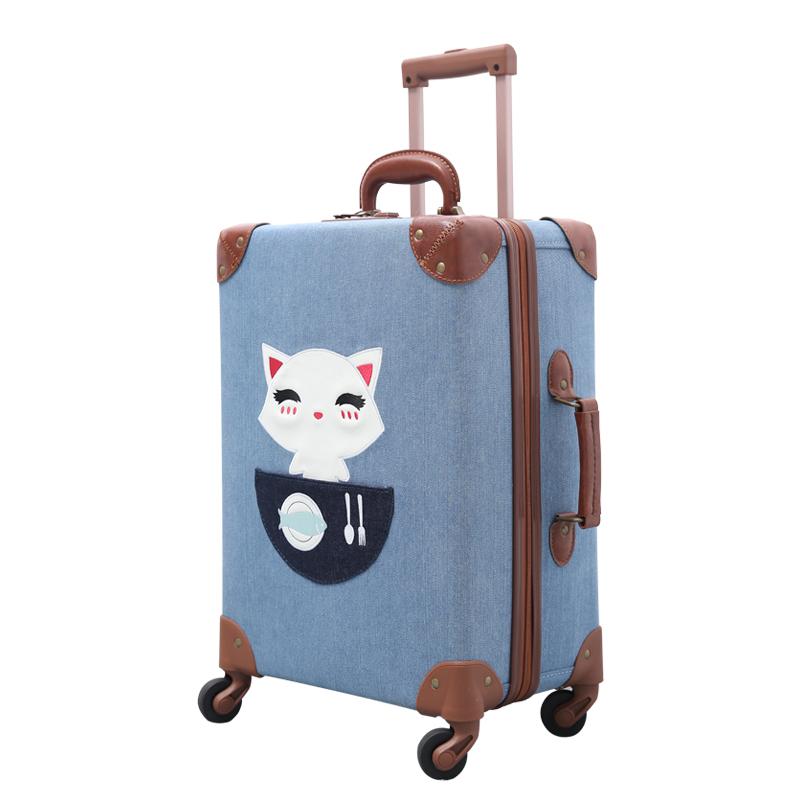 り♓ กระเป๋าเดินทางล้อลากใบเล็ก กระเป๋าเดินทางล้อลากUrecityทำด้วยมือเด็กกระเป๋าผู้หญิงขนาดเล็กสดน่ารักการ์ตูนกรณีรถเข็นนัก