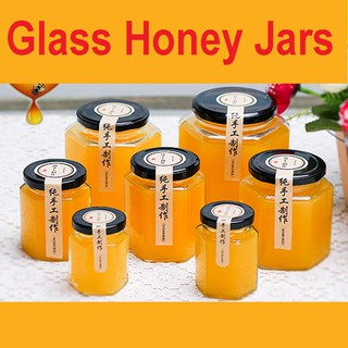 Review Hexagon honey glass bottle sealed jar with lid small size jam vegetable chili lemon head food grade