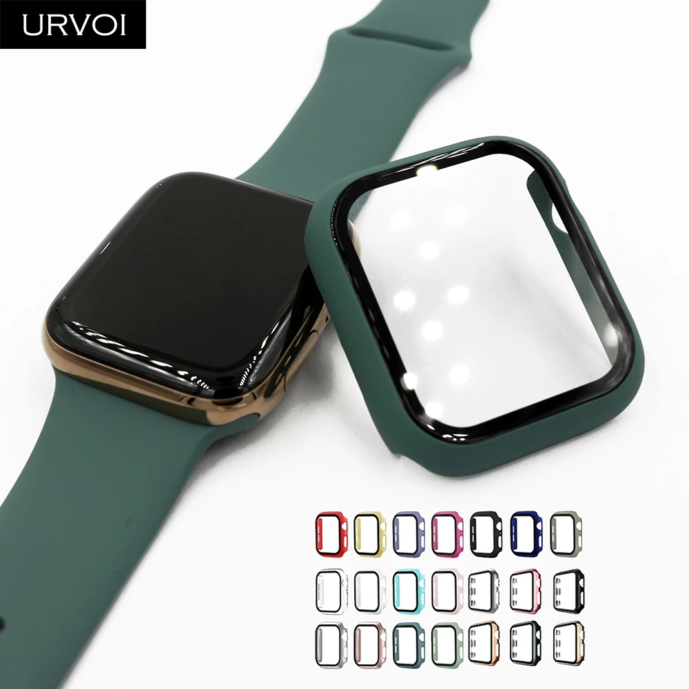Glass + Case for Apple Watch Serie 6 5 4 3 38mm 40mm 42mm 44mm  IWatch Case Bumper Screen Protector