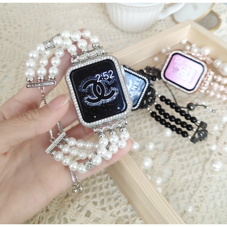 ฟุ่มเฟือย เพชรพลอย สายนาฬิกา Apple Watch Straps เหล็กกล้าไร้สนิม Luxury Handmade Jewellery Pearl สาย Applewatch Series 6 5 4 3 Stainless Steel Straps for apple watch iWatch Series6 ,Series5,Series4 ,Series3, Series2 , Apple Watch SE Watch band