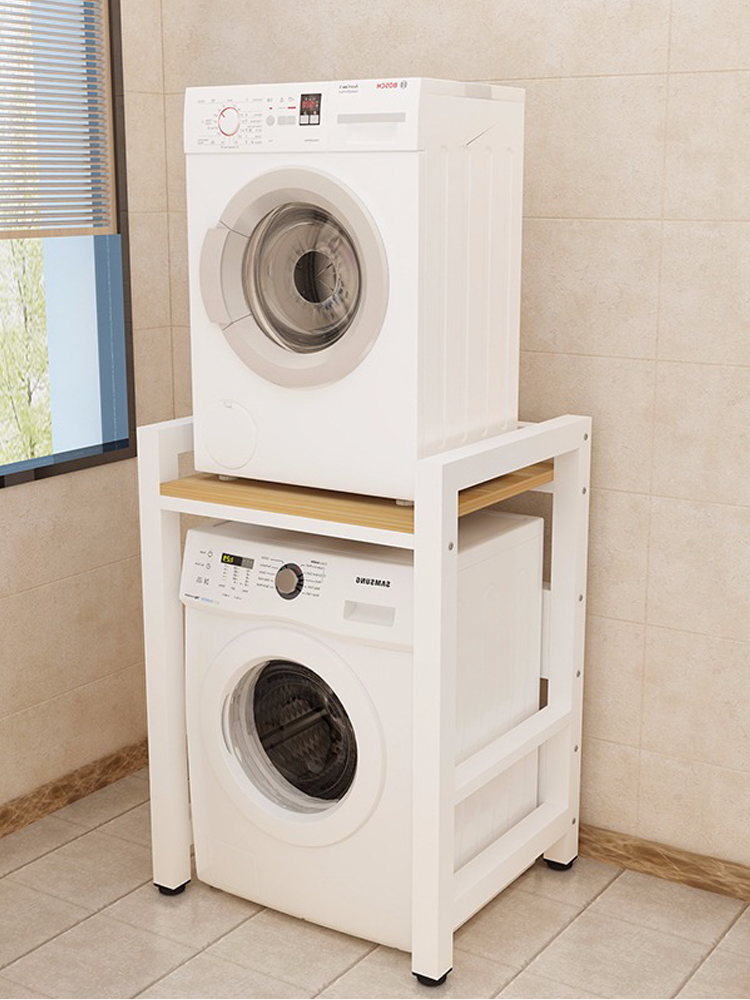 ชั้นวางเครื่องซักผ้าชั้นลูกกลิ้งเครื่องอบผ้าเครื่องล้างจานด้านบนซ้อนระเบียงที่กำหนดเองชั้นเก็บของ