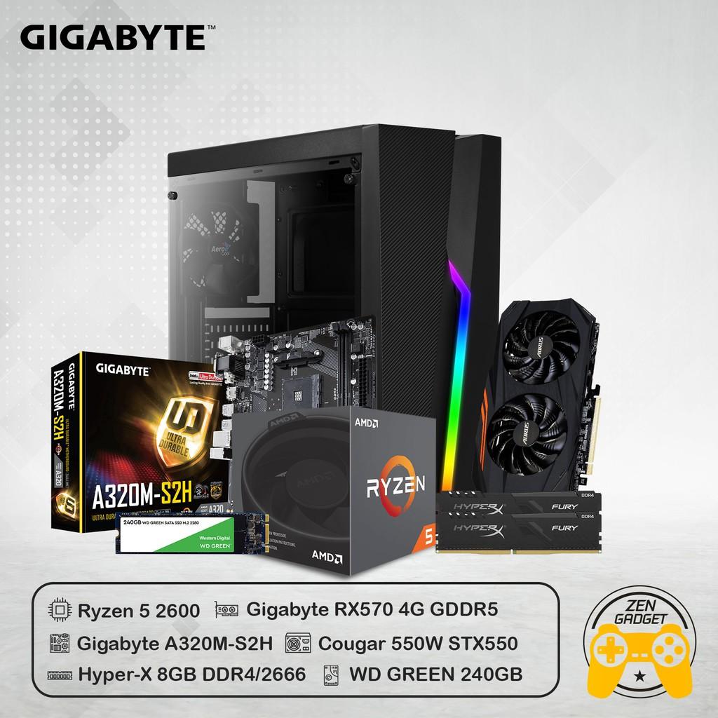 COMPUTER SET#2 คอมประกอบ Ryzen 5 2600 + Ram 8GB + Gigabyte RX570 4GB