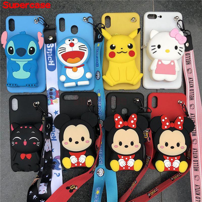 Samsung Galaxy A6 A8 2018 A9 Pro A5 2017 2016 Case Doraemon Hello Kitty Mickey Stitch Wallet Purse Cartoon Zipper Cover