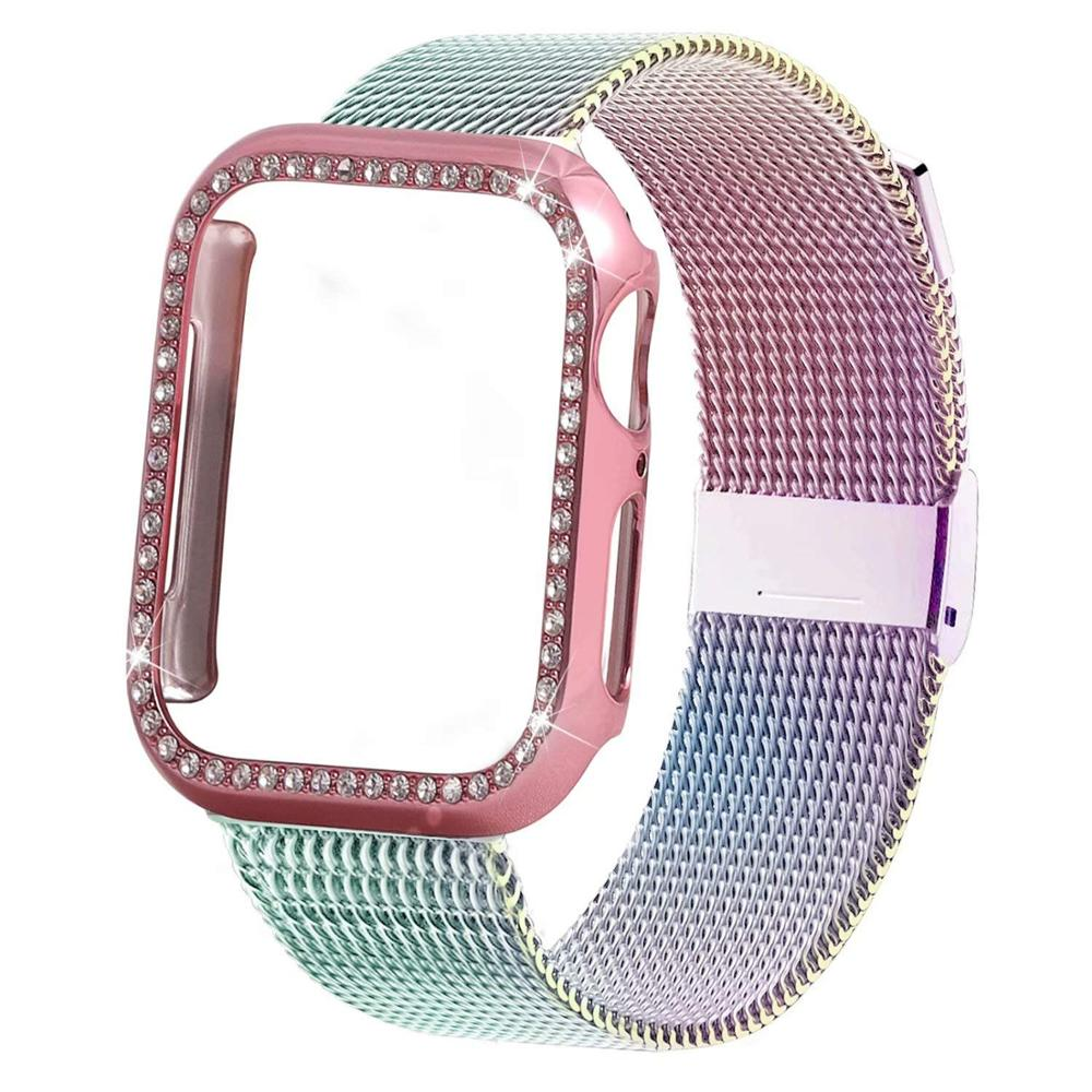 Case + Apple watch strap, 44mm and 40mm strap, 42mm and 38mm Iwatch, stainless steel bracelet, Milan strap, apple watch