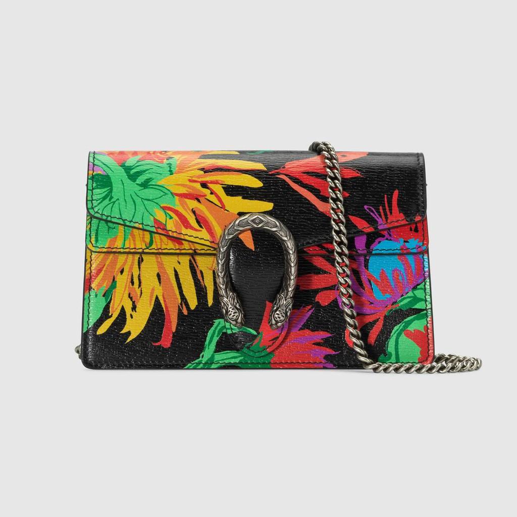 Gucci / ใหม่ / Artist Ken Scott Printed Series กระเป๋าถือ Dionysus Series Super Mini / หนังนิ่ม / ของแท้ 100% / 16.5CM