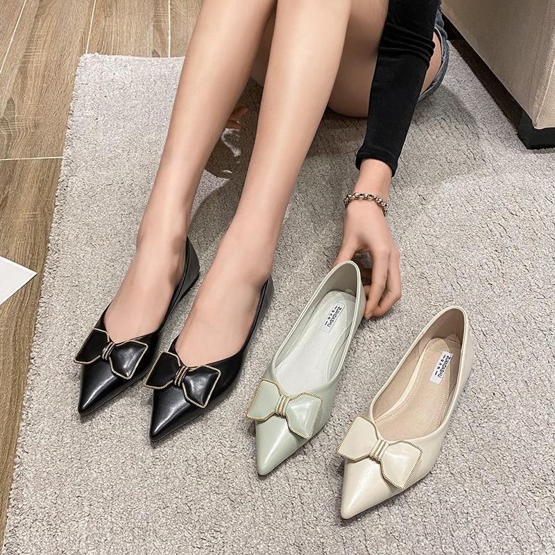 รองเท้าผู้หญิง รองเท้าคัชชู ร้องเท้า ✶หนังรองเท้าแบนเด็ก 2021 ใหม่ลมขนาดเล็กรองเท้าเดียวผู้หญิงหลายร้อยชี้ Scoops รองเท้