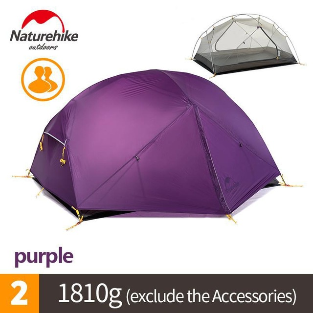 ✳♨♨Naturehike Mongar 2 Persons Tent Waterproof 15D Nylon Fabric Camping Tent Ultralight Large Inner Space Tourist Tent W