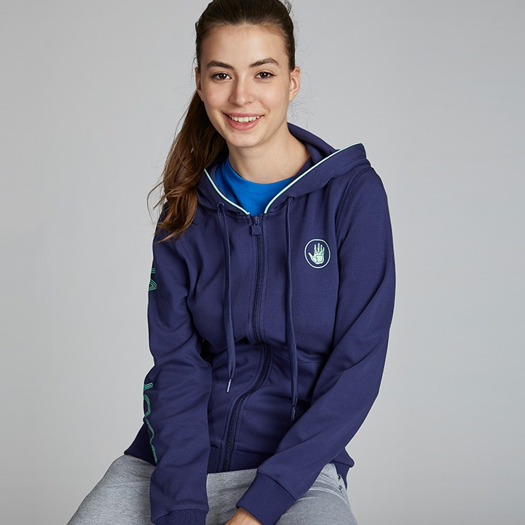 BODY GLOVE Sport Casual Interlock Spandex Hoodies - Women เสื้อฮู้ดแขนยาว ผู้หญิง สี Navy
