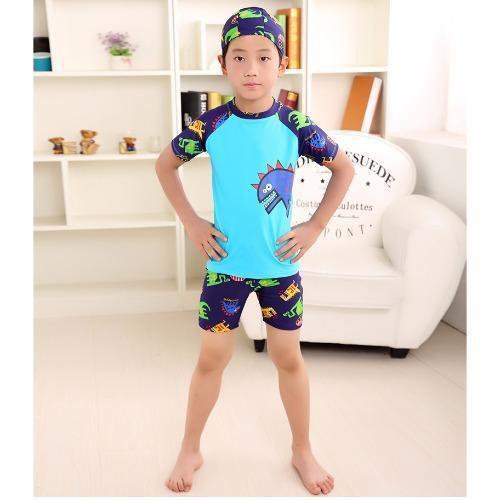 🔥💖🌟∏☈[2020 New Year Sale] ชุดว่ายน้ำเด็กผู้ชาย เนื้อผ้านิ่มใส่สบาย ลายไดโนเสาร์ แถมฟรี Kirei Kirei เจลล้างมือคิเรอิ 5