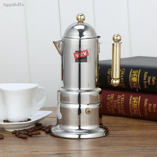 ☈หม้อเอสเปรสโซสเตนเลสอิตาลีชุดหม้อ Moka pot เครื่องชงกาแฟสกัดแบบหนาสำหรับทำหม้อกาแฟไฟฟ้า