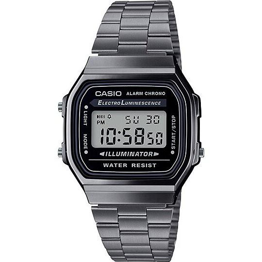 Casio Digital นาฬิกาข้อมือสีเทา สายสแตนเลส รุ่น A168WGG ของแท้ ประกัน CMG