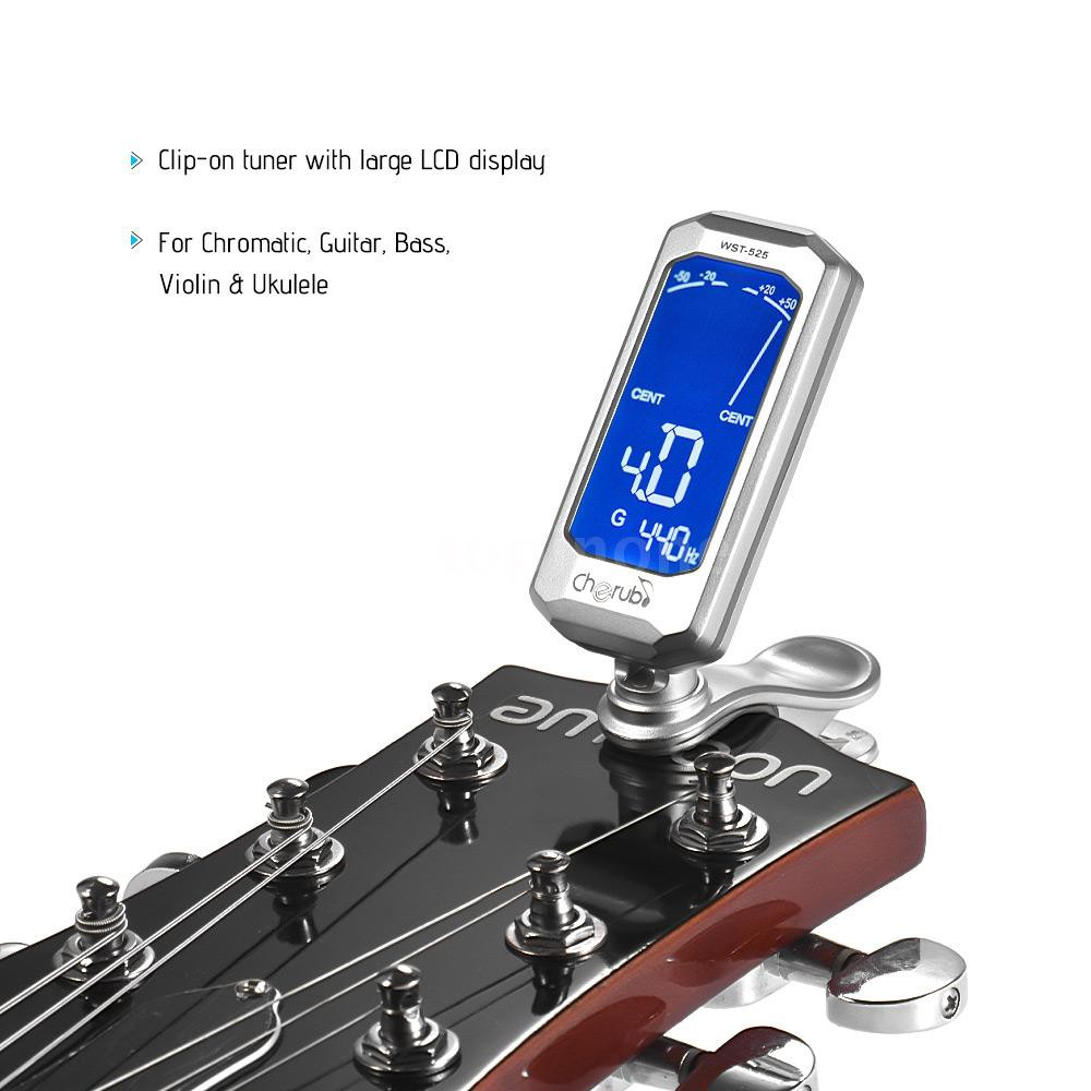 inone⭐Cherub WST-525 Rotatable Clip-On Tuner Large LCD Display for  Chromatic Guitar Bass Violin Ukulele Tuning