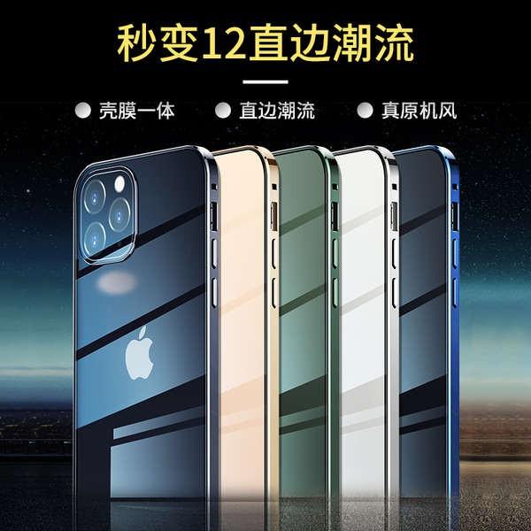 เคสโทรศัพท์ iphone 11 เคสโทรศัพท์มือถือ Apple 11 โปร่งใส ProMax กระจกสองด้านโปร่งใส Iphone11 โลหะระดับไฮเอนด์ป้องกันการต