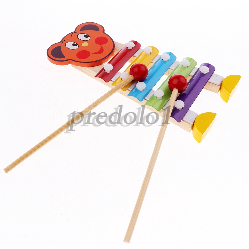 Prettyia Wooden Childrens Musical Instrument Toy Xylophone Percussion Set
