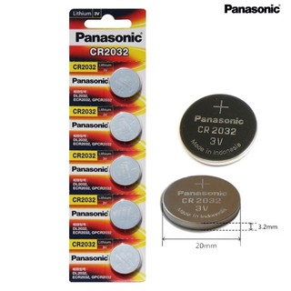 ถ่าน Panasonic Battery CR2032 3V Lithium Battery 1แผง/5ก้อน