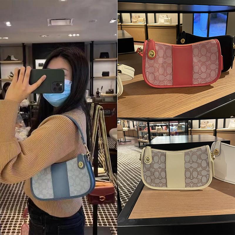 ซื้อของแท้COACH/กระเป๋าถือ COACH ใหม่Swingerกระเป๋าผ้าลินินกระเป๋า Messenger แบบพกพากระเป๋ารักแร้