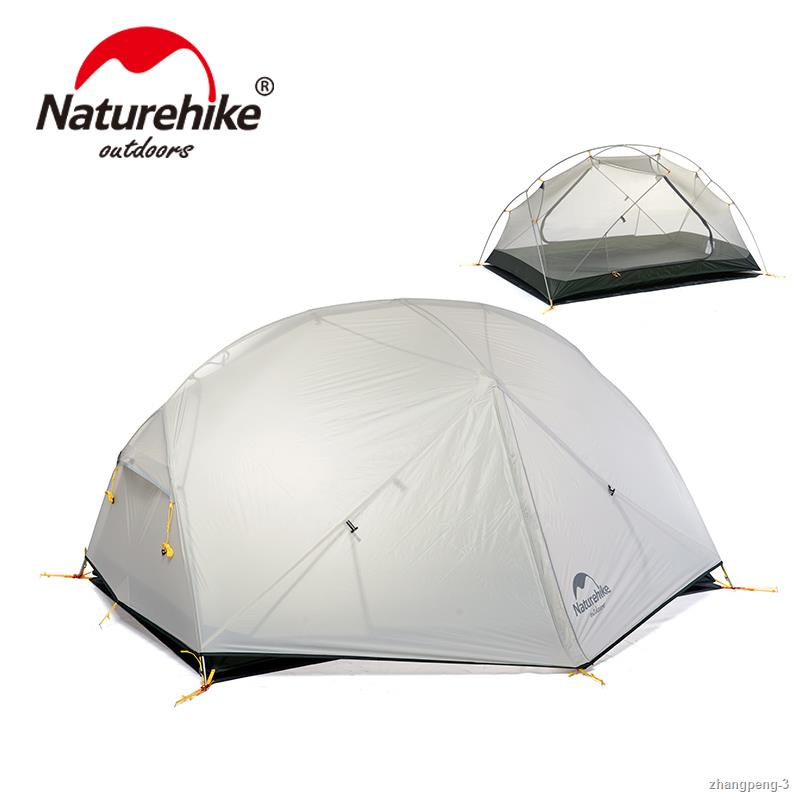 ✲☈NatureHike Mongar Camping Tent 2 Persons Ultralight 20D Nylon Aluminum Alloy Pole Double Layer Outdoor Hiking Tent NH1